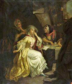 Fortune Tellers 1786 After Matthew William Peters. The Fortune Teller Jean Baptiste Joseph Pater (French artist, Gypsy, Fortune Telling Cards, Grandeur Nature, Divination Cards, British Schools, Demonology, Fortune Teller, Tarot Readers, Moon Art