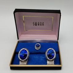529d2c791898 Mens Swank Blue Rivol Rhinestone Wrap Around Mesh Cufflinks Tie Tac Set  1960s #Swank Beach