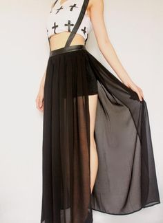 Elegant Backless Loose Chiffon See-Through Sleeveless Lace-Up ...
