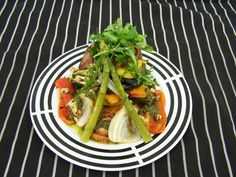 Roasted Vegetable with Polenta on a Basil-Walnut Pesto
