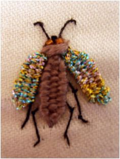I ❤ embroidery . . . Week 44, Woven Picot beetle, Beetle WITH legs