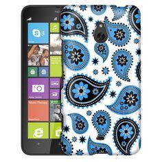 Nokia Lumia 1320 Paisleys Cute Blue on White Slim Case