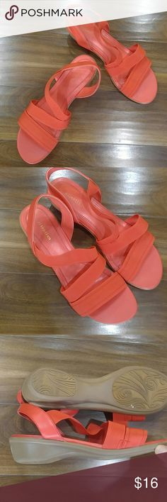 Coral elastic strapped sandals Comfy and trendy, coral colored elastic strapped sandals by Attention. Size 10 M, and in wonderful condition. Slight heel. Attention Shoes Sandals
