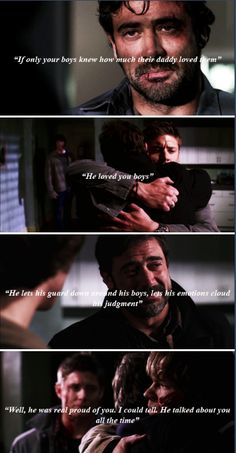 No matter what else, John Winchester loved his boys. John Winchester, Winchester Supernatural, Supernatural Fandom, Supernatural Crafts, Supernatural Quotes, Jeffrey Dean Morgan, Jared Padalecki, Do Love, Love Him