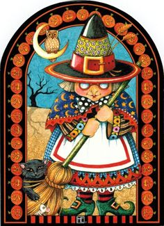 Witching You a Happy Halloween - Mary Engelbreit Halloween Images, Holidays Halloween, Vintage Halloween, Halloween Crafts, Happy Halloween, Halloween Decorations, Halloween Witches, Halloween Drawings, Halloween Ideas