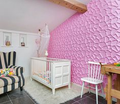 Pink painted Gabs-design is this kids room. We think a very good idea. What do you think ?