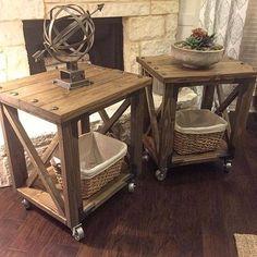 Rustic x end table, hardware choices. Design Furniture, Pallet Furniture, Furniture Projects, Rustic Furniture, Painted Furniture, Country Decor, Rustic Decor, Farmhouse Decor, Diy End Tables