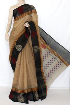 Fawn Black Handwoven Bengali Tant Cotton Saree (Without Blouse) 14230