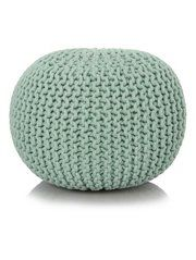 George Home Duck Egg Blue Knitted Pouffe