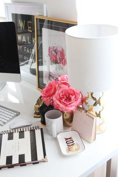 Meagan Ward's Girly-Chic Home Office {Office Tour} | this is the kind of feel I want with my new blog design - chic but minimalist and feminine.