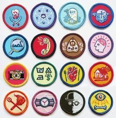 Alternative Scouting merit badges by artist Luke Drozd http://lukedrozd.bigcartel.com/category/badges-pins