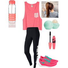 Need to go for a RUN! by purplepoponedirection on Polyvore featuring polyvore, fashion, style, NIKE and Eos