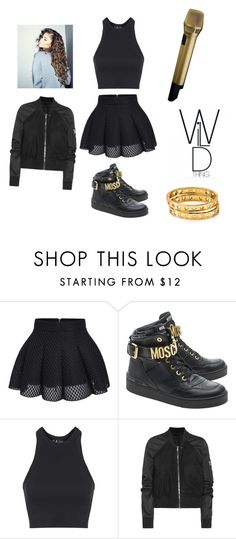 """""""Something To Dance For"""" by skittlespercyj ❤ liked on Polyvore featuring Moschino, Topshop, Rick Owens, Coleman, Sennheiser and BaubleBar"""