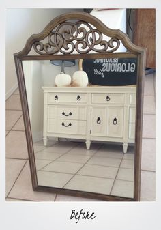 This mirror makeover is gorgeous! via @thirtyeighthstreet #reversedistressing #mirrormakeover
