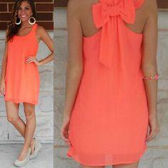 Stylish Scoop Neck Bowknot Embellished Sleeveless Dress For Women
