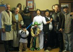 """""""Attached you will find our take on the Star Wars group. Especially take note of """"Luke Skywalker"""" and """"Yoda"""" in the front row — these are my godchildren, who I make costumes for each year for their birthday which happens in October. I got especially good reviews for my Yoda feet. Unfortunately, """"Luke"""" isn't wearing the boots that were made for the costume because we are in-doors."""""""