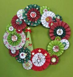 Χριστουγεννιάτικο στεφάνι απο χάρτινες ροζέτες.  Σαμαρτζή - Βιβλιοπωλείο - Hobby - Καλλιτεχνικά: ΙΔΕΕΣ ΓΙΑ ΧΕΙΡΟΤΕΧΝΙΕΣ - ΧΑΛΚΙΔΑ