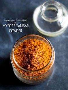 mysore sambar powder recipe with step by step pics – aromatic sambar powder made with whole spices, lentils and desiccated coconut. this sambar powder is a really good sambar powder and makes excellent SAMBAR with any veggie. Masala Powder Recipe, Masala Sauce, Masala Recipe, Sambhar Recipe, Podi Recipe, Dhokla Recipe, Homemade Spices, Homemade Seasonings, Pav Bhaji Masala