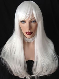 Long wig with full bangs. White Blonde