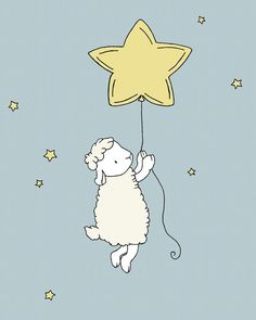 Lamb Nursery Art -- Lamb Star Balloon -- Nursery Decor -- Lamb Art Print -- Sheep Nursery Art, Children Art Print, Kids Wall Art by Sweet Melody Designs Sheep Nursery, Nursery Art, Nursery Decor, Baby Lamb Nursery, Art Wall Kids, Art For Kids, Art Children, Scrapbooking Image, Sheep Illustration