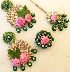 Gota jewellery is the hottest cross border import since Fawad Khan ; Flower Jewellery For Haldi, Flower Jewelry, Gold Jewellery, Craft Jewellery, Jewellery Making, Clay Jewelry, Gota Patti Jewellery, Indian Wedding Favors, Indian Weddings