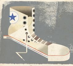 Cubist Converse All-Star hightop sneaker by Dave Murray from his inanimate objects series.