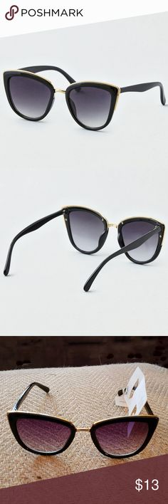 1ab016499b american eagle outfitters cat eye sunglasses american eagle outfitters  black with gold trim cat eye sunglasses.. 100% UV protection.. see last  photo for ...