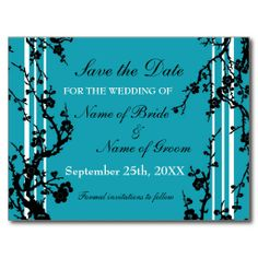 Turquoise Floral Save the Date Wedding Postcard