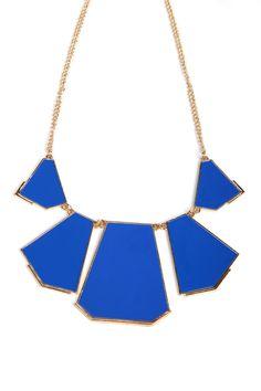 Blue Collar Geometry Irregular Pendant Necklace - Sheinside.com