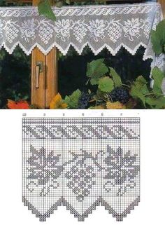 Crochet Curtain Pattern, Crochet Curtains, Curtain Patterns, Crochet Patterns, Filet Crochet, Valance, Diy And Crafts, Cross Stitch, Tapestry