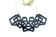 Black Geometric Laser Cut Necklace in Black Acrylic Perspex on Sterling Silver Chain  - This piece measures around 7cm across at the widest
