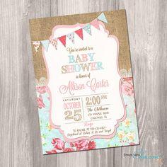 Shabby Chic Baby Shower Invitation Girl Baby por StyleswithCharm