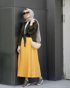 Hijab style with yellow skirt – Mylycia Hijab Fashion Summer, Street Hijab Fashion, Muslim Fashion, Modest Fashion, Skirt Fashion, Fashion Outfits, Casual Hijab Outfit, Hijab Chic, Hijab Dress
