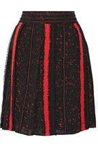 Pleated printed silk-georgette skirt