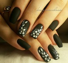 Simple Black Coffin Nail Designs For Winter Simple Black Coffin Nail Designs For Winter Holidays - TopBestLife Honeycomb Nail Art View We loved this nail art model, which can be reminiscent . Black Nail Designs, Winter Nail Designs, Beautiful Nail Designs, Nail Art Designs, Black Coffin Nails, Black Acrylic Nails, Fabulous Nails, Gorgeous Nails, Cute Nails