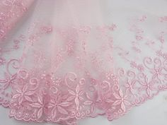 8'*2yard delicate pink embroidered flower tulle lace trim for DIY >>> Want to know more, click on the image.