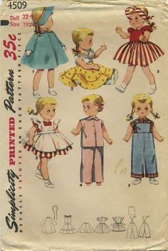 "Vintage Doll Clothes Sewing Pattern | Doll's Wardrobe for 14"" Bonny Braids and 16""-17"" and 22""-23"" Saucy Walker Doll 