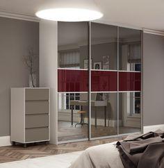 Premium Midi fineline sliding wardrobe doors in Mirror and Maroon glass with Satin Silver frame.