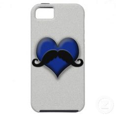 Mustache on Blue Heart, Very Retro! iPhone 5 Covers