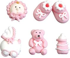 "Pink Baby Set. Royal Icing. 3/4-1 1/4"" - Item #422102. Also available in Blue - Item #422104. Certified Kosher. Gluten Free. Nut Free. Dairy Free. 0 gram Trans Fats."