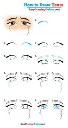 How to Draw Tears - Really Easy Drawing Tutorial How to Draw Tears . - How to Draw Tears – Really Easy Drawing Tutorial How to Draw Tears – Really Easy Drawing Tutori - Easy Drawing Tutorial, Drawing Tutorials For Kids, Drawing For Beginners, Eye Tutorial, Beginner Drawing, Manga Eyes, Anime Eyes, Draw Eyes, Cartoon Drawings
