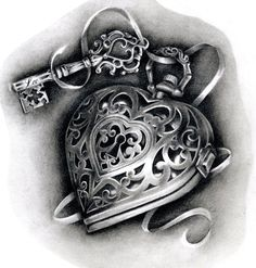 Heart locket tattoo design by Hannah Catherine Falvey