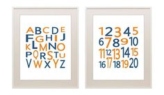 Alphabet numbers print set, ABC 123, modern children's nursery print, kids wall decor, baby boy, nursery art, typography, baby girl, 11x14 on Etsy, $40.00