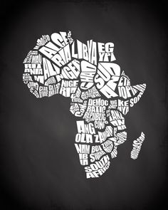 Africa Typography Map with Chalkboard background by inkofme