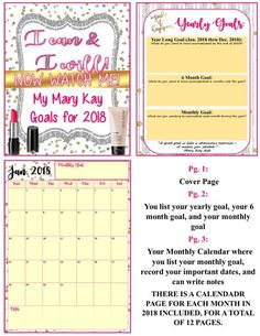 **FREEBIE** 2018 MARY KAY EDITABLE GOAL PLANNER