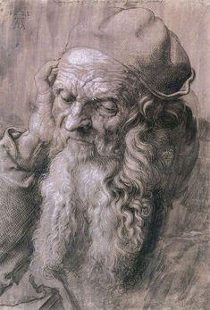 Albrecht DÜRER    [GermanNorthern RenaissancePainter and Engraver, 1471-1528]    Study of a Man Aged 93  1521  Brush drawing on gray violet primed paper, 415 x 282mm  Graphische Sammlung Albertina, Vienna