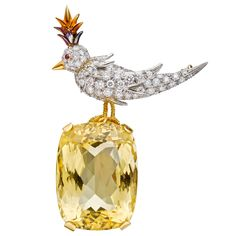 "LOVE THIS!! Estate Tiffany & Co. Schlumberger ""Bird on a Rock"" Citrine Brooch"