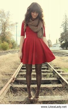 Fall fashion red dress