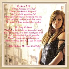Kelly Clarkson, Mr. Know It All lyrics