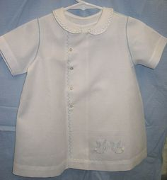 Ms. Dot's Boy Bunnies on Graph Pique Daygown by Old Fash. Baby